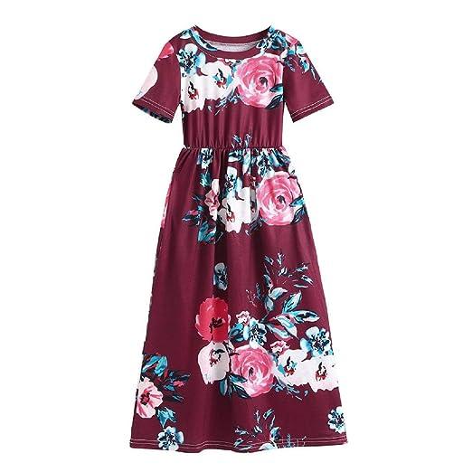 GreatFun Niñas Falda Vestido Estampado de Flores de Manga Corta ...