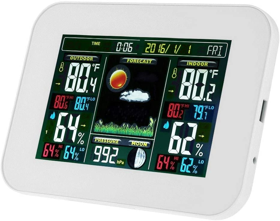 Weather Forecast Clock Wireless Indoor And Outdoor Temperature And Hygrometer