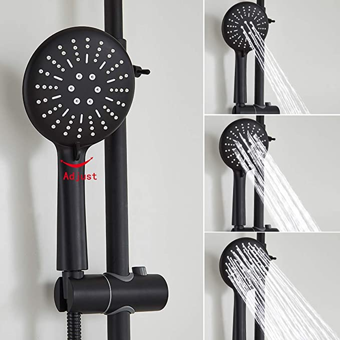 Detachable Handheld Matte Black Shower Head High Flow High Pressure Rainfall Spray With Removable Hand Held Rain Shower For The Bathroom Luxury ...