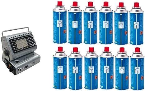 Estufa estufa a gas portátil doble casquillo GPL/Butano + 5 ...