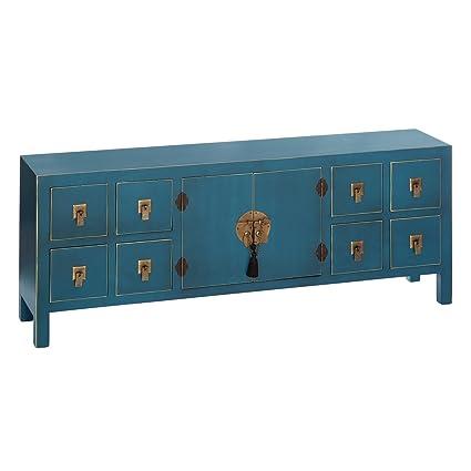 Mueble de TV de 8 cajones y 2 Puertas Oriental Azul de Madera para ...