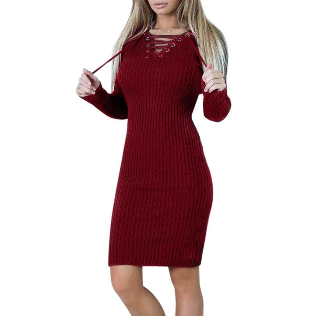 Goddessvan Womens Long Sleeve Knitted Sweater Bodycon Dress Bandage Slit Slim Dress