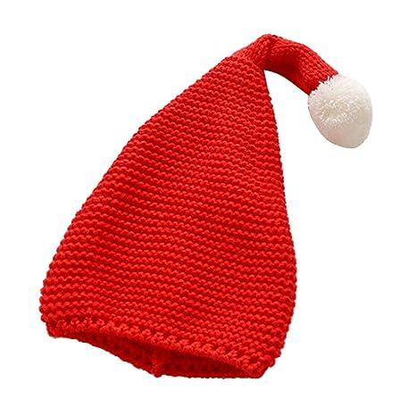 YeahiBaby Sombrero de Punto Diseño de Elfo Papá Noel con Pompones ...