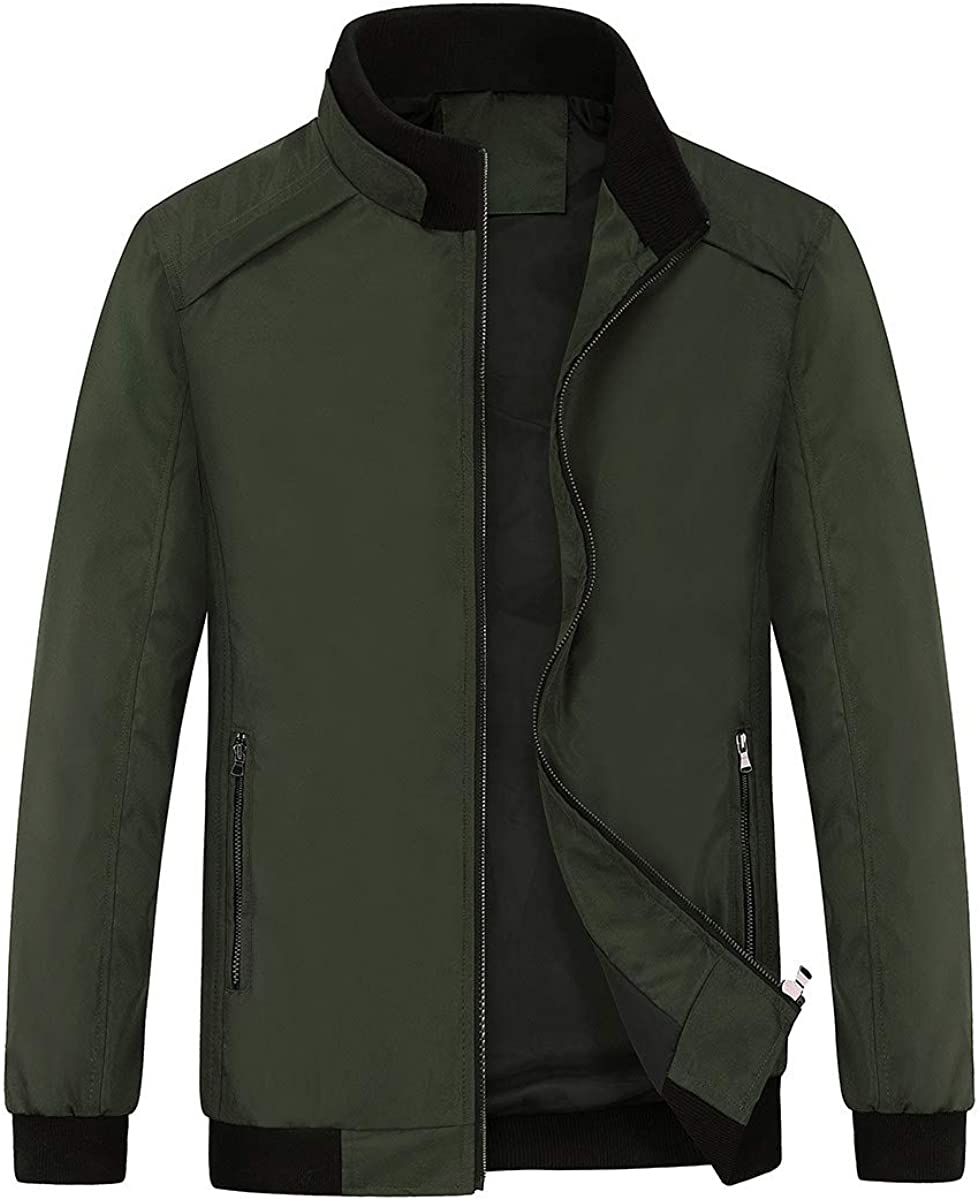 YOUTHUP Mens Jackets Casual Lightweight Sport Jacket Stand Collar Spring Outwear Coat