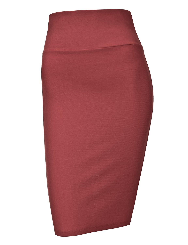 Regna X Love Coated Womens Sexy Back Slit Slim Skirt Magenta XXL