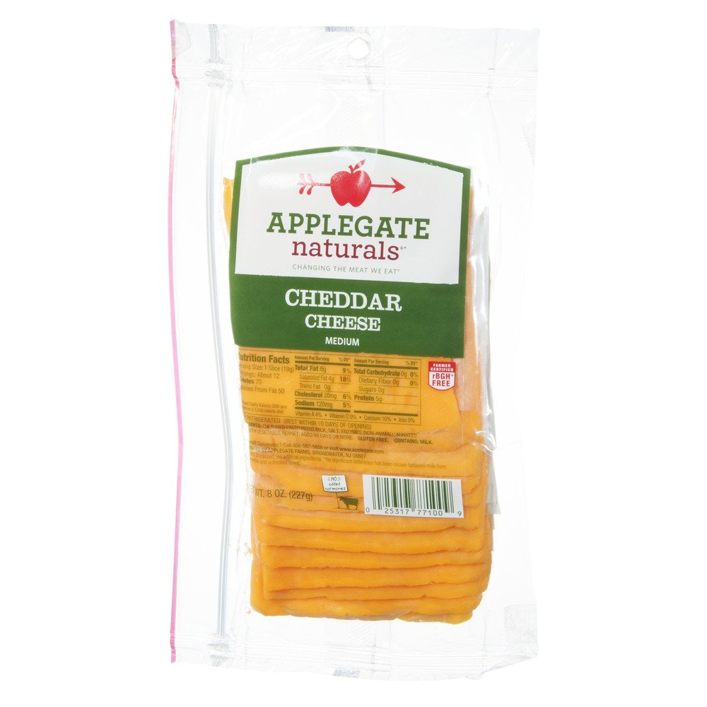 Applegate Natural Medium Cheddar Cheese, 8 Ounce (Pack of 12)
