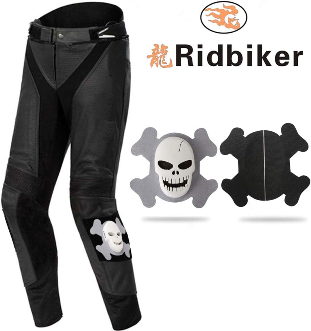 Ridbiker 2Pcs Knee Sliders Off-Road Motorcycle Hard Version,Skull Design,Gray