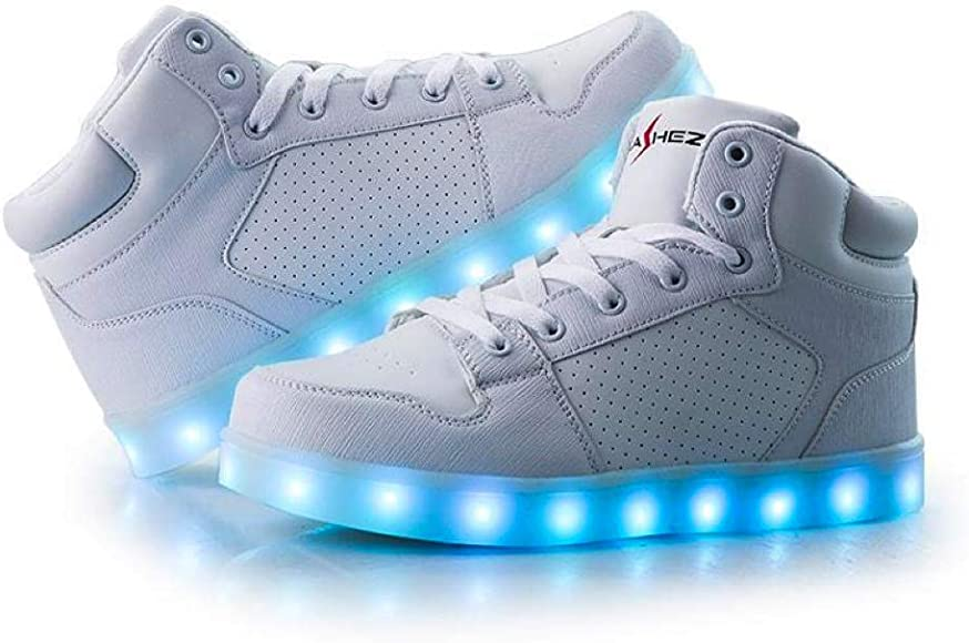 White High Top Light Up Trainers Mens Womens Boys Girls Led Shoes Uk Brand Latest Style V2 Edition 3 Uk Amazon Co Uk Shoes Bags