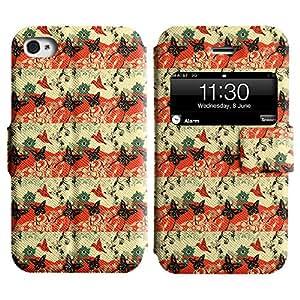 LEOCASE linda mariposa Funda Carcasa Cuero Tapa Case Para Apple iPhone 4 / 4S No.1004043