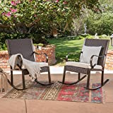 Cheap Great Deal Furniture Muriel Outdoor Wicker Rocking Chair with Cushion (Set of 2), Dark Brown and Cream