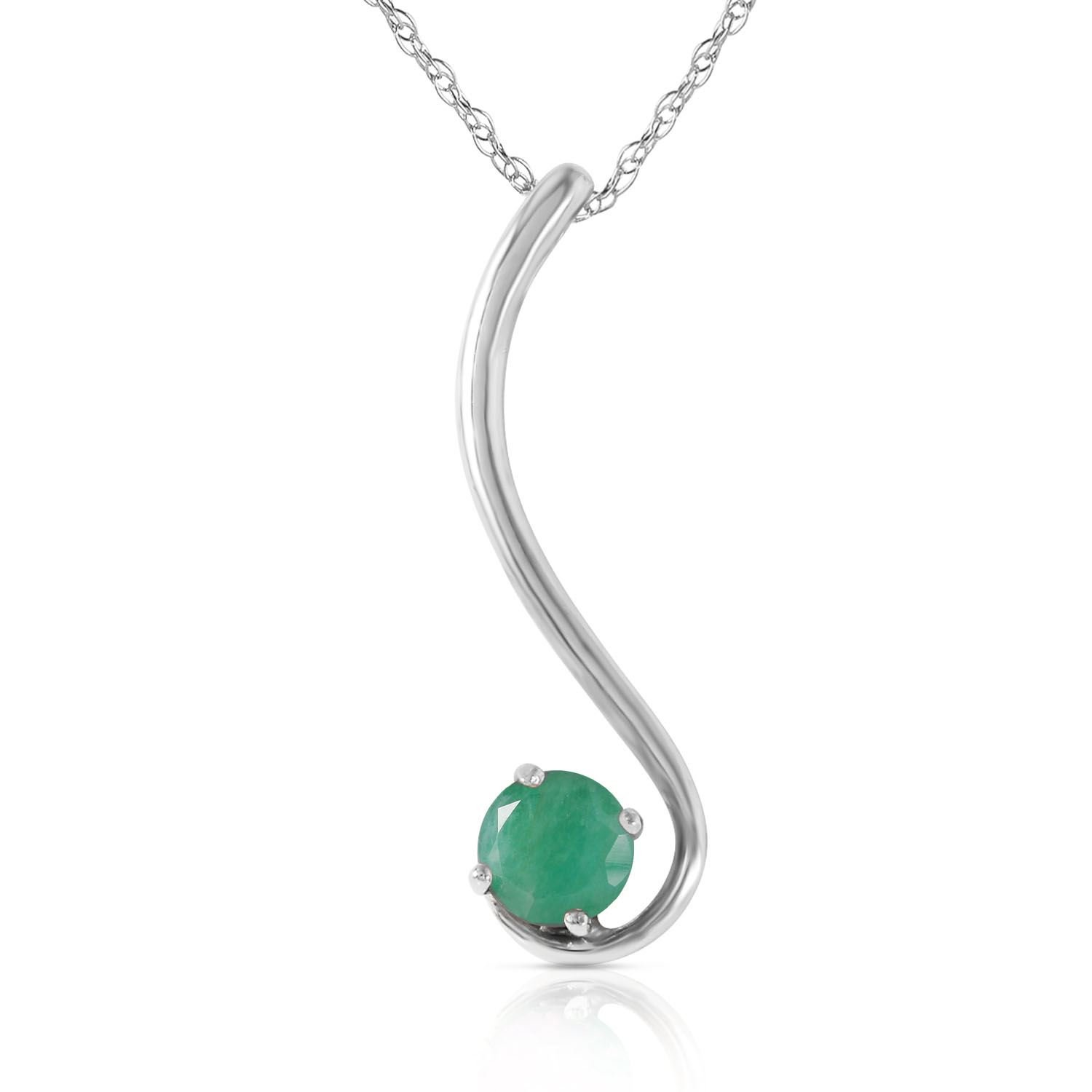 ALARRI 0.55 CTW 14K Solid White Gold Accentuate The Given Emerald Necklace with 24 Inch Chain Length