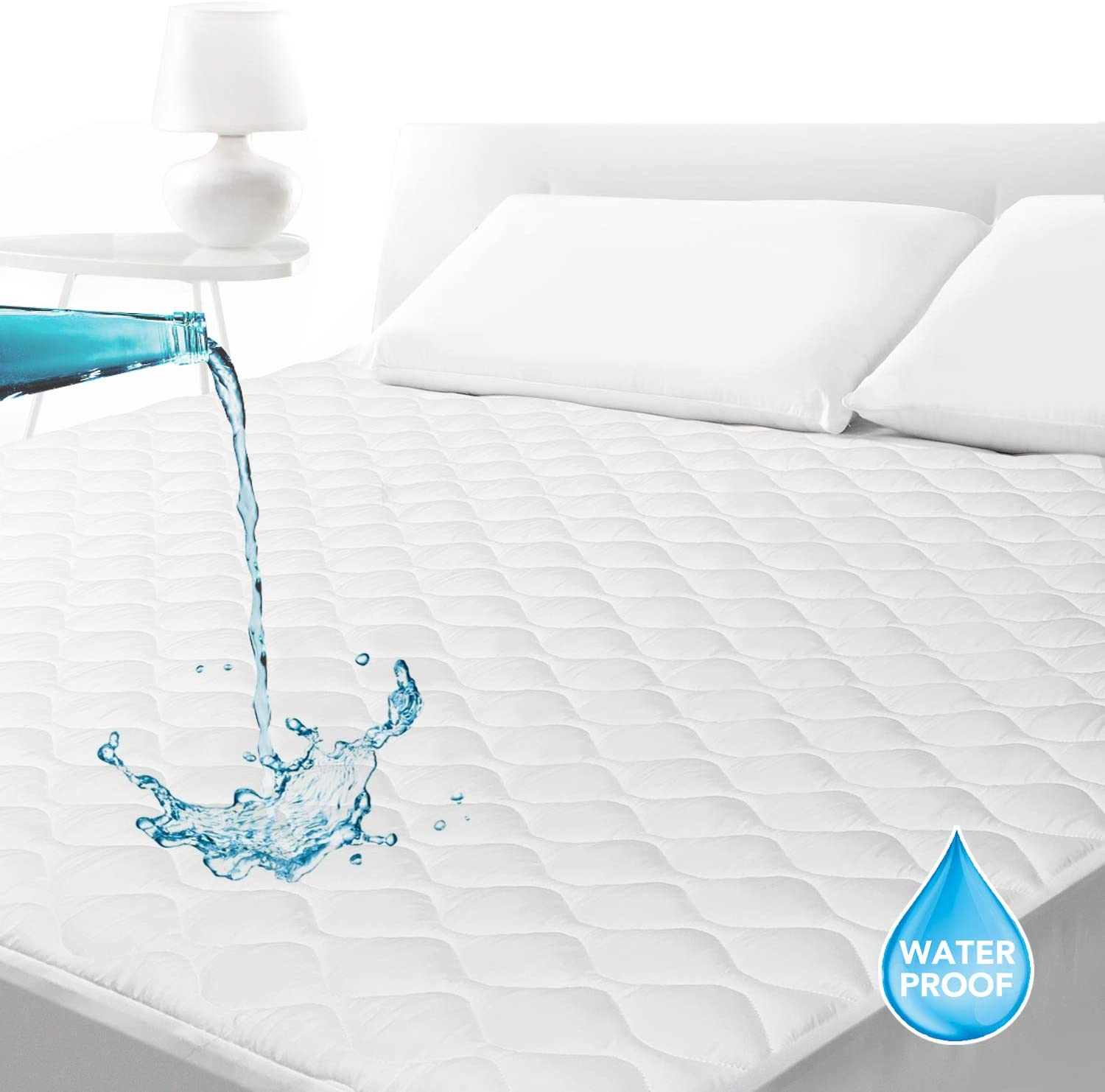 SLEEP ACADEMY Waterproof Quilted Fitted Mattress Pad Twin XL, Breathable Mattress Protector Hypoallergenic, Soft, Vinyl Free