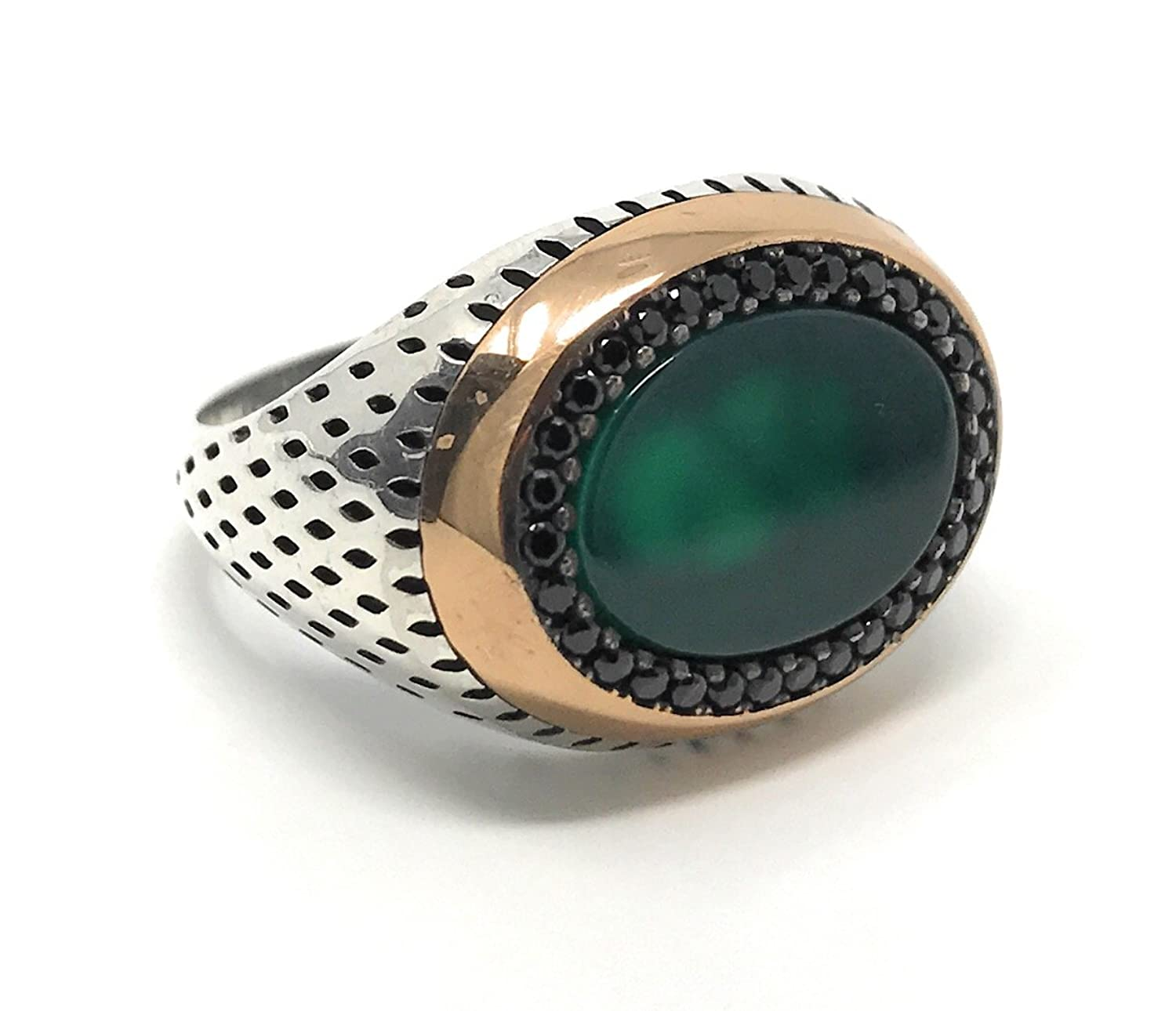 KAR 925K Stamped Sterling Silver Green Agate with Black Cubic Zirconia Details Mens Ring K41Q