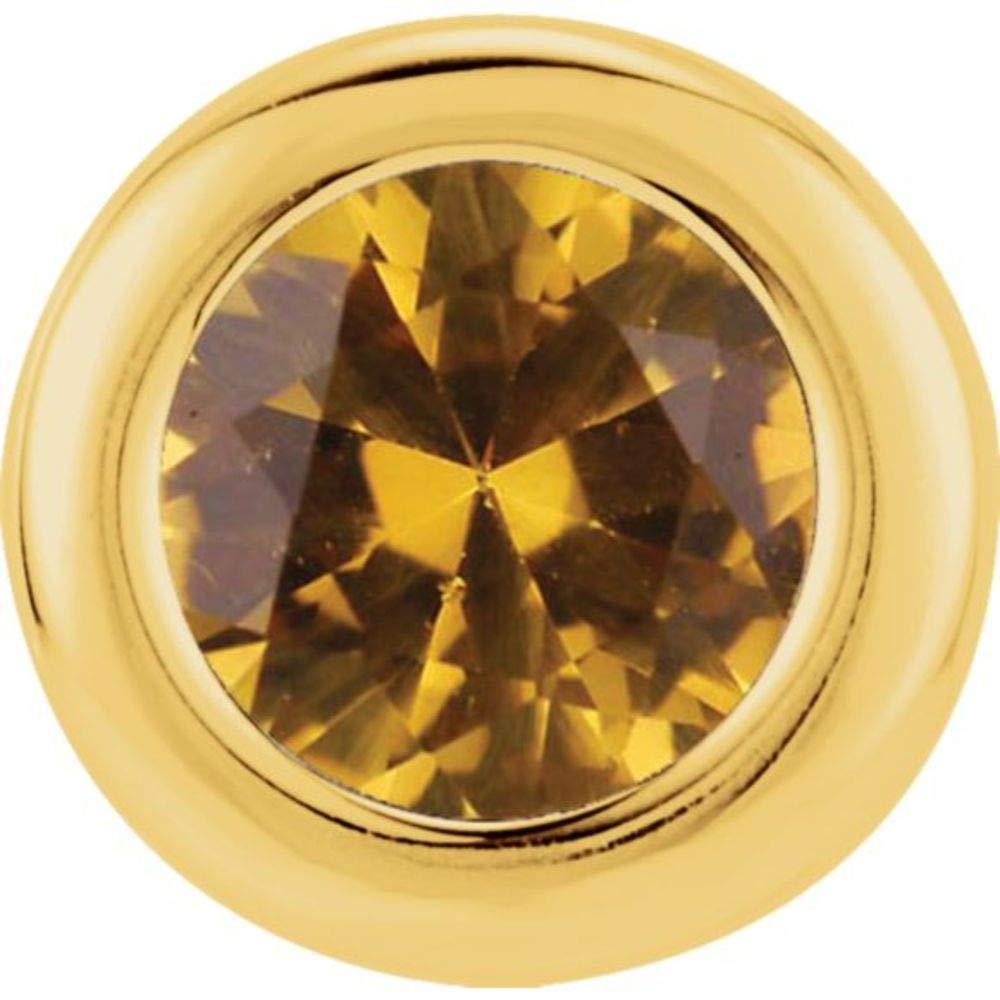 14K Yellow Gold Imitation CitrineNovember Birthstone Pendant Slide