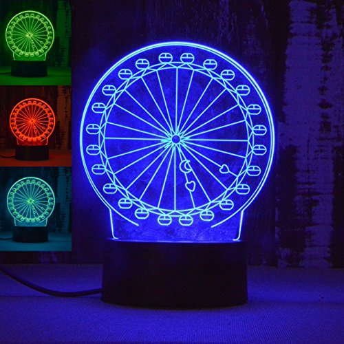 (3D Ferris Wheel Night Light Abstract Lamp Table Desk Optical Illusion Lamps 7 Color Changing Lights LED Table Lamp Xmas Home Love Brithday Children Kids Decor Toy Gift)
