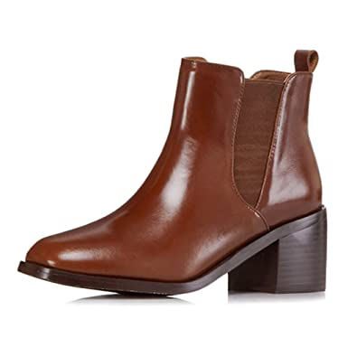 ANNIESHOE Leder Stiefeletten Damen Chelsea Boots Herbst Absatz Braun 35CN  35EU 22.5cm cc41c9b5e3