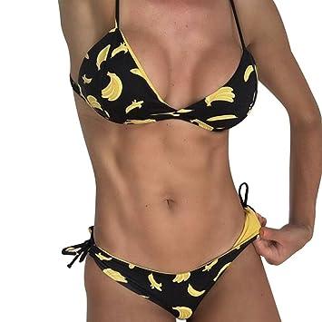 beikoard, mujeres Bikini Set Maillots de baño push-up acolchado riñonera impresión Bandage sujetador pañal para baño cuerpo conjuntos dos Pieces negro Negro ...
