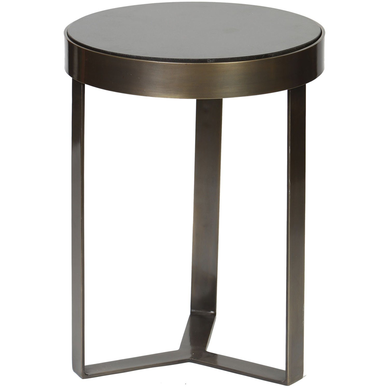 Minimalist Metal Black Granite Top Accent Table; Antique Finish
