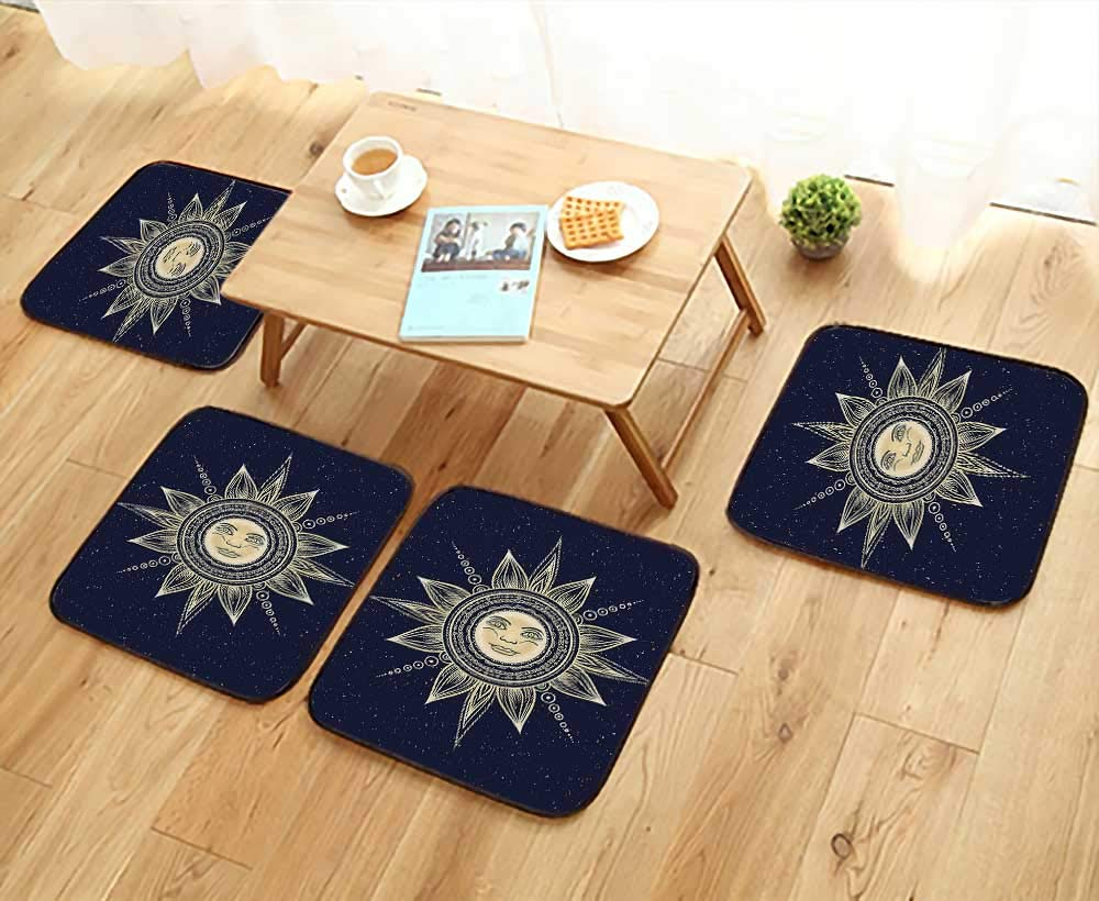 Leighhome Home Chair Set Occult Sun with Face Boho Chic Esoteric Solar Spiritual Display Yellow Dark Blue Machine-Washable W21.5 x L21.5/4PCS Set