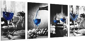 4 Panels Modern Canvas Print Art Home Decor Wine Glass Wall Artwork Framed Canvas Wall Art for Living Room & Bedroom (Blue Wine Glass, 8x12inchesx4pcs)