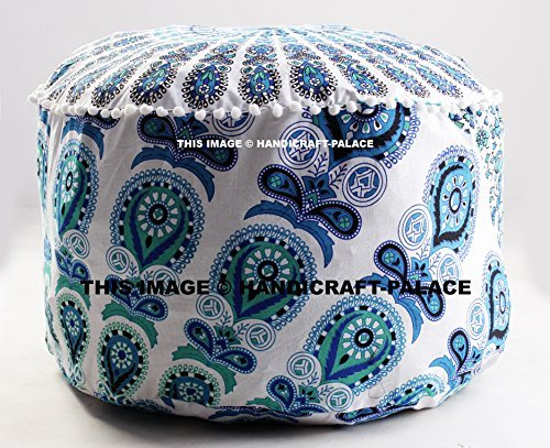 Cheapest Prices! Indian Floor Pouf Ottoman Cover pouffe pouffes Foot Stool Peacock Mandala Round by...