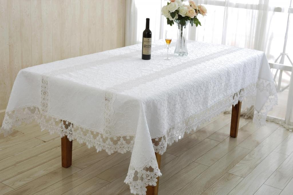 Violet Linen Glory Embroidered Vintage Lace Design Oblong/Rectangle Tablecloth 70'' x 162'' Cream