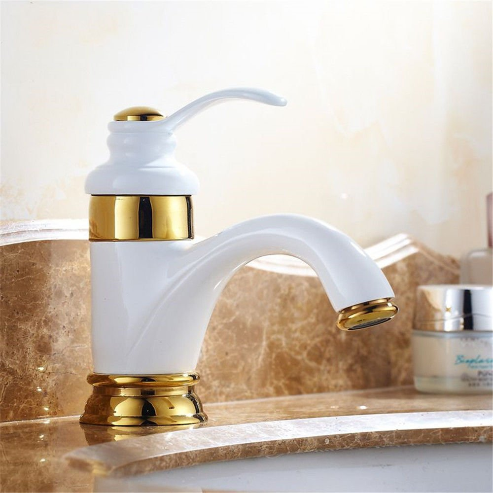 Lpophy Bathroom Sink Mixer Taps Faucet Bath Waterfall Cold and Hot Water Tap for Washroom Bathroom and Kitchen Bronze White Paint White Hot and Cold Water