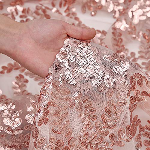 Rose Gold Flower Sparkly Fabric Glitter Table Overlays Sequin Fabric Tablecloth Fabric Backdrop Curtain Sparkle Sequin Linens -