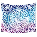 """Uphome Medallion Wall Tapestry Hanging, Light-Weight Polyester Fabric Wall Decor (51"""" H x 60"""" W, Blue and Purple)"""