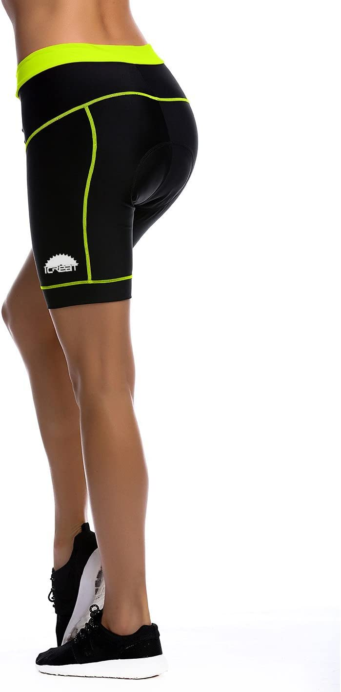 iCreat Womens Cycling Compression Shorts Running Pants Padded with Quick-Dry-Function S-XXL