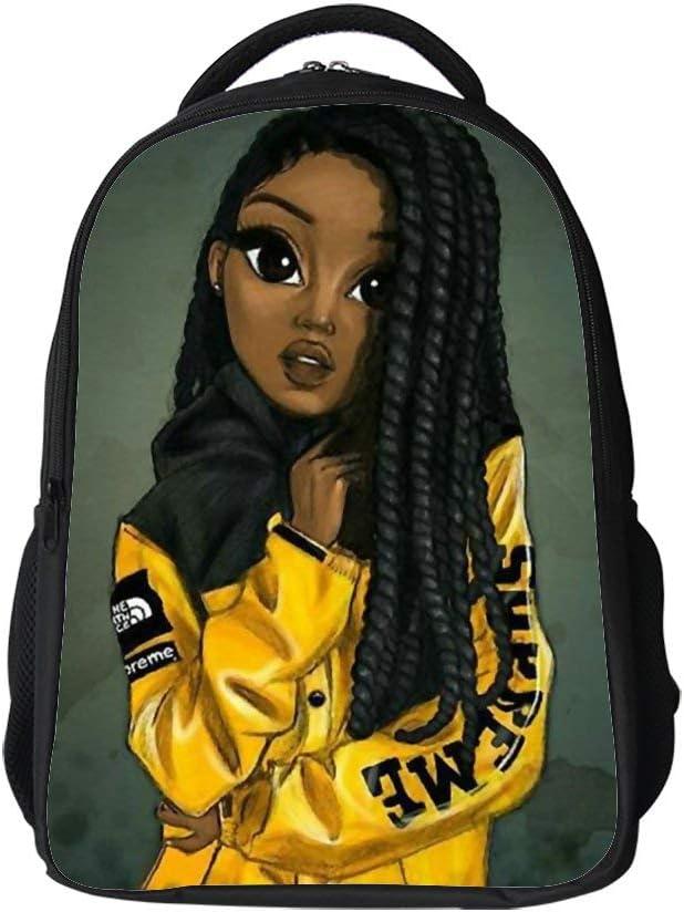 SARA NELL Kids School Bag Black Art African American Girl Afro Girls Boys Girls Backpack Bookbag For Elementary Students