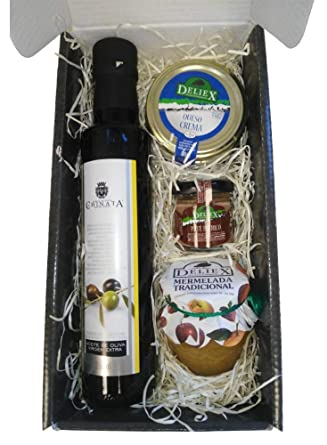 Cesta de productos gourmet para Navidad con aceite de oliva virgen extra 250 ml en vidrio, ...