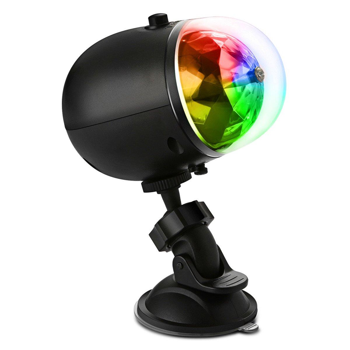 Yaojiaju 3W 1Pcs 200-300 L LED 7-Pattern Colorful Car Disco DJ Effect Stage Light RGB Crystal Mini Rotating Magic Ball Light for Outdoor Dance Floor Live Show