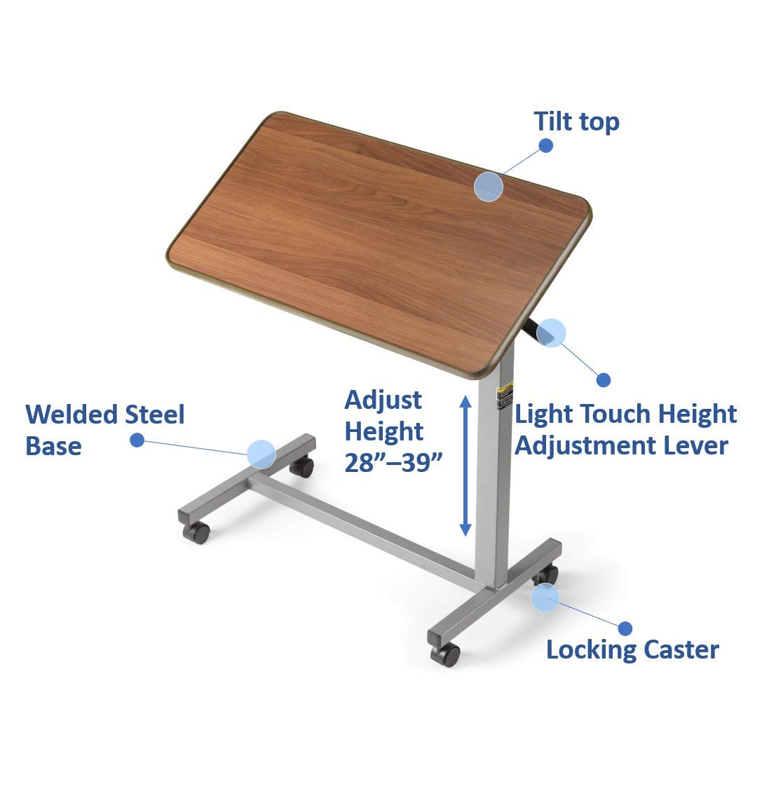 B000C4QFTY Invacare Overbed Table, with Tilt Top, Height Adjustable, 6418 719ItEcub2L._SL1500_