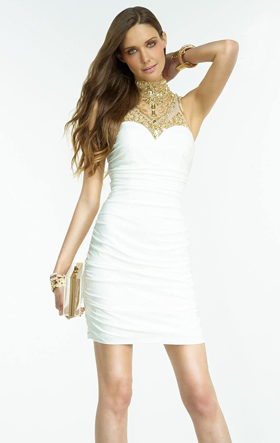 Top Sexy Ivory Gold Beaded Cocktail Mini Dress White Short Prom