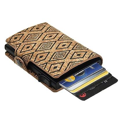 gran venta originales diseño distintivo Dlife Tarjetero RFID Cartera Crédito, Cartera de Aleación de Aluminio  Multiuso Bolsillos, Cuero PU Exterior Automáticas Desplegables para Hombres  y ...