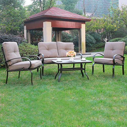 Cloud mountain 4 piece patio conversation set cushioned for Outdoor furniture 4 piece