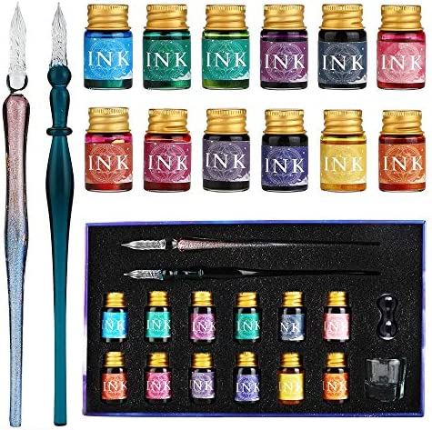 GC Pluma de Cristal-2 bolígrafos de pluma de Cristal 12 tintas multicolores 1 portalápices 1 taza de limpieza-para firmas, caligrafía, escritura, ...