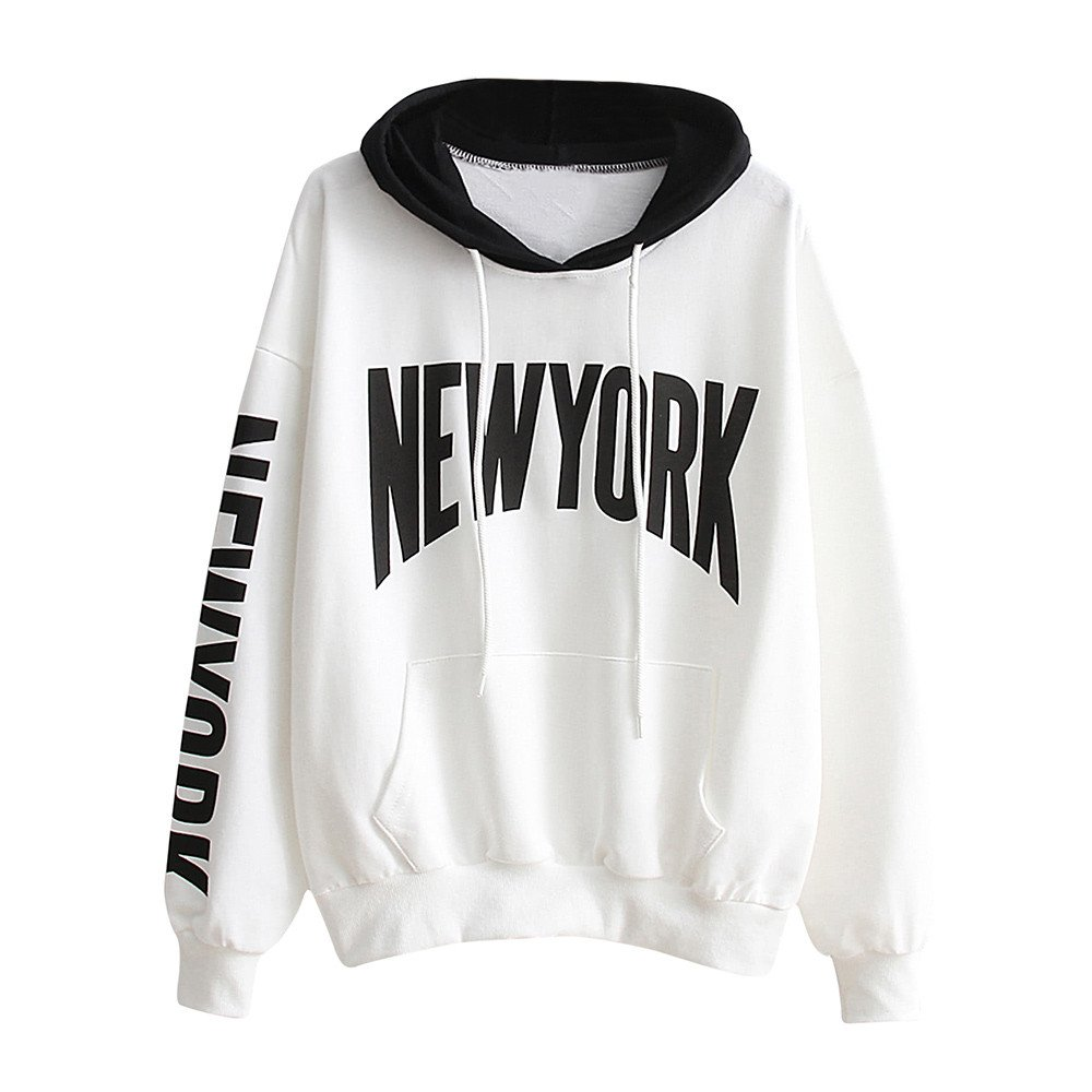 Napoo Women New York Letter Print Pocket Hooded Pullover Sweatshirt (L, White) by Napoo