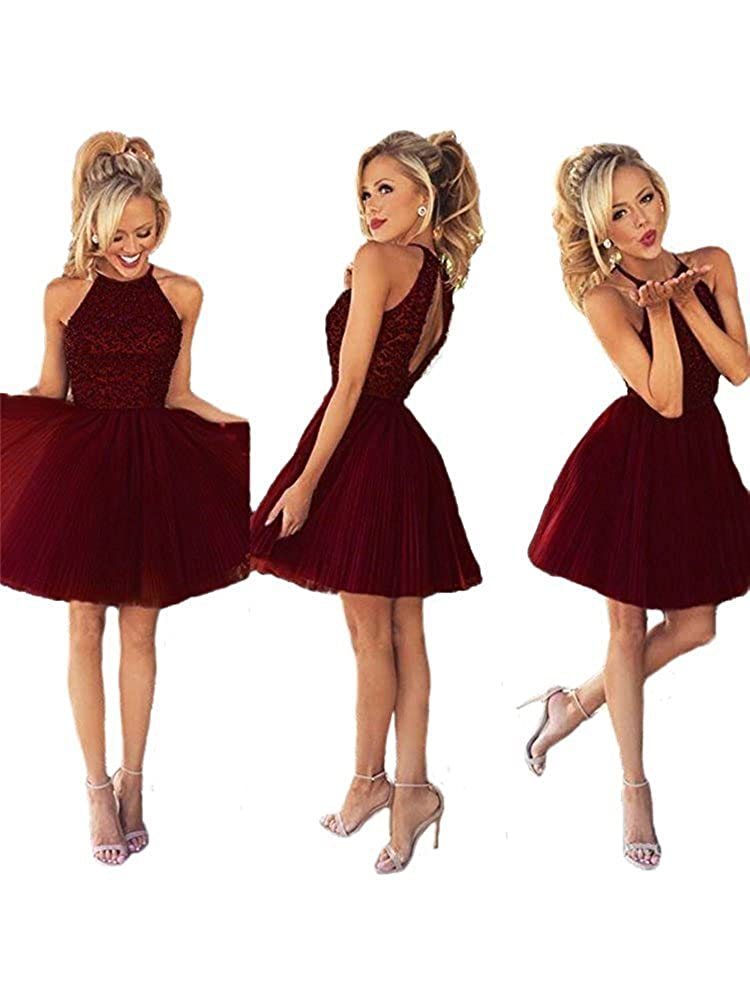 Burgundy Huifany Homecoming Dresses Short Halter Neck Women Prom Ball Gowns Cocktail Party Dresses with Sleeveless for Teenagers