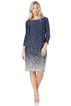2533381a7af Roman Originals Womens Geometric Check Square Print Shift Knee Length  Dresses - Ladies Summer Smart Business Work Wear Vintage Lightweight Party  Dress 3 4 ...