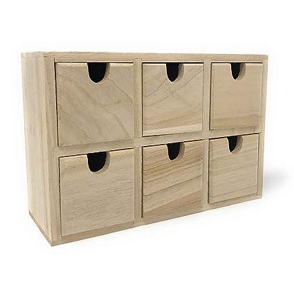 Cajonera de madera natural con 6 cajones 14 x 21 x 7.5 cm ...