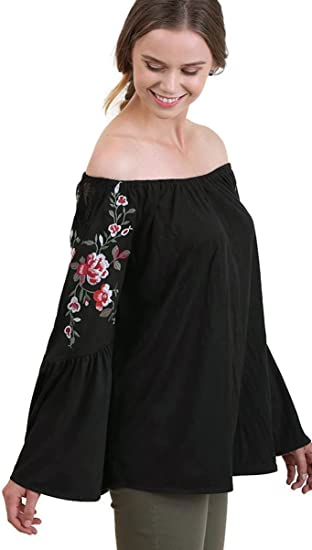Umgee Suede-Like Off The Shoulder Embroidered Bell Sleeve Tunic Top