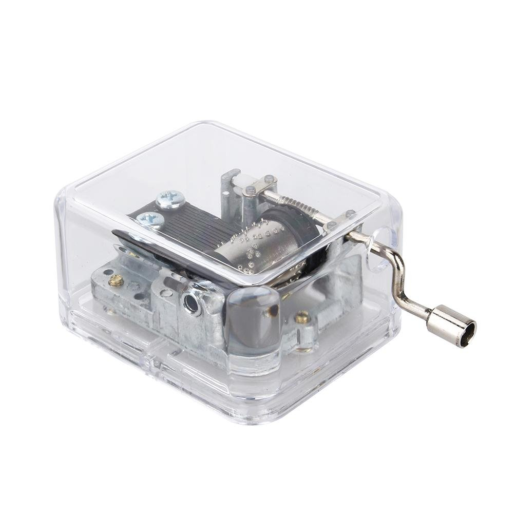 Melody Swan Lake Crank Music Box,18-Note Crank Music Box Mini Acrylic+Metal HandCrank Music Box Music Box for Children