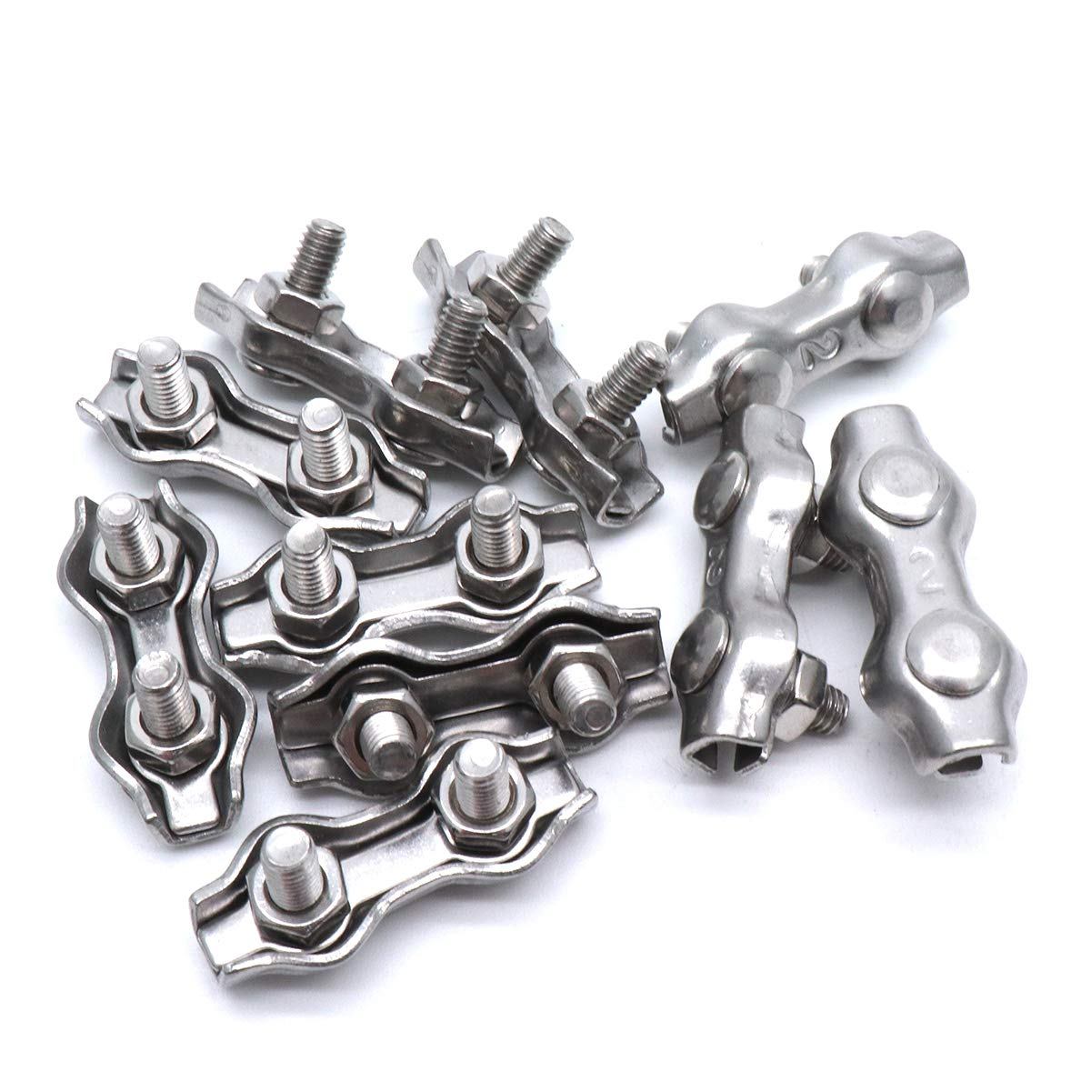 M2 304 Stainless Steel Duplex Wire Rope Clip Cable Clamps For Wire Cables 10PCS