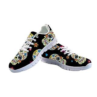 FOR U DESIGNS Black Women's Jogging Running Sneaker Suger Skull Lightweight Go Easy Walking Casual Comfort Sports Running Shoes Size 41