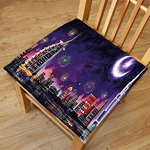 Nalahome Set of 2 Waterproof Cozy Seat Protector Cushion Landscape Illustration of Eid Celebration at Night in Dubai Skyscrapers and Firework Print Purple Printing Size - In Sunglasses Dubai
