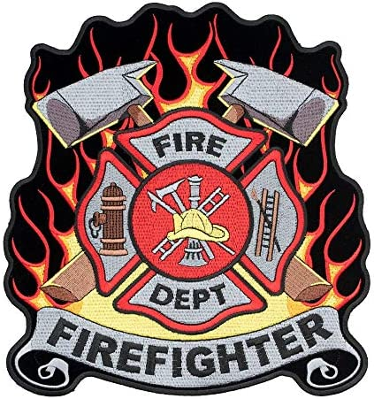 """FIREFIGHTER PATCH ROUND 4/""""  WITH YELLOW MALTESE CENTER"""