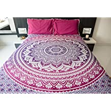 Folkulture Magenta Marvel Ombre Bedspread with Pillow Covers, Indian Bohemian Tapestry Wall Hanging, Hippie Beach Throw Blanket, Mandala Bedding for Bedroom, Pink Purple Queen Size Boho Spread