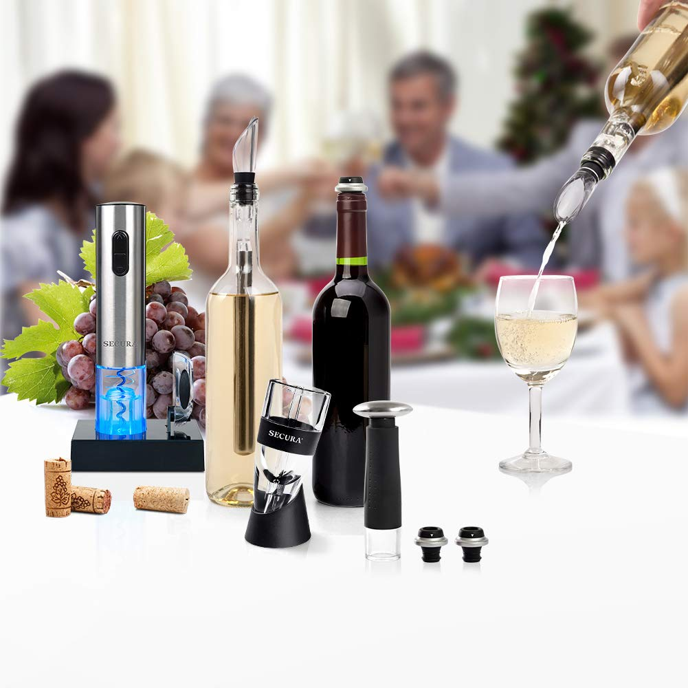 Secura Wine Lovers Gift Set 12-Piece Wine Accessories Set Electric Wine Opener, Wine Foil Cutter, Wine Aerator, Wine Saver Vacuum Pump + 2 Wine Stoppers by Secura (Image #8)